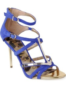 Alena Suede Cage Sandals - predominant colour: indigo; occasions: evening, occasion; material: suede; heel height: high; ankle detail: ankle strap; heel: stiletto; toe: open toe/peeptoe; style: strappy; finish: plain; pattern: plain; embellishment: chain/metal