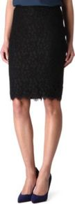 Scotia Lace Skirt - pattern: plain; style: pencil; fit: tailored/fitted; waist: high rise; predominant colour: black; occasions: evening, work, occasion; length: just above the knee; waist detail: narrow waistband; texture group: lace; pattern type: fabric; fibres: viscose/rayon - mix; embellishment: lace