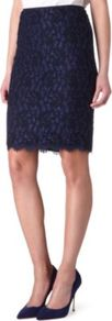 Scotia Lace Skirt - pattern: plain; style: pencil; fit: tailored/fitted; waist: high rise; predominant colour: navy; occasions: evening, work, occasion; length: just above the knee; waist detail: narrow waistband; texture group: lace; pattern type: fabric; fibres: viscose/rayon - mix; embellishment: lace