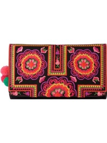 Tuk Tuk Clutch - predominant colour: black; occasions: evening; style: clutch; length: hand carry; size: small; material: fabric; embellishment: embroidered; finish: plain; pattern: patterned/print