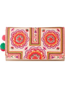 Tuk Tuk Clutch - predominant colour: nude; occasions: casual; style: clutch; length: hand carry; size: small; material: fabric; embellishment: embroidered; finish: plain; pattern: patterned/print