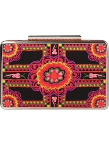 Cherry Box Clutch - predominant colour: black; occasions: evening; style: clutch; length: hand carry; size: small; material: fabric; embellishment: embroidered; finish: plain; pattern: patterned/print