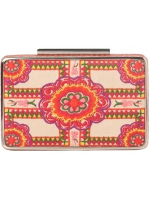 Cherry Box Clutch - predominant colour: blush; occasions: evening; style: clutch; length: hand carry; size: small; material: fabric; embellishment: embroidered; finish: plain; pattern: patterned/print