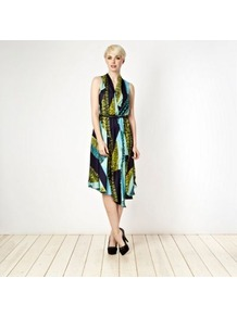 Designer Aqua Snake Dress - neckline: v-neck; fit: fitted at waist; sleeve style: sleeveless; waist detail: belted waist/tie at waist/drawstring; occasions: casual, evening, occasion, holiday; length: on the knee; style: asymmetric (hem); fibres: polyester/polyamide - 100%; hip detail: soft pleats at hip/draping at hip/flared at hip; back detail: shorter hem at back than at front (dresses); predominant colour: multicoloured; sleeve length: sleeveless; texture group: silky - light; trends: statement prints; pattern type: fabric; pattern size: big & busy; pattern: patterned/print