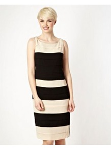 Black Tiered Colour Block Shift Dress - style: shift; neckline: round neck; fit: tailored/fitted; pattern: horizontal stripes; sleeve style: sleeveless; secondary colour: ivory; predominant colour: black; occasions: evening, occasion; length: just above the knee; fibres: polyester/polyamide - 100%; sleeve length: sleeveless; texture group: crepes; hip detail: ruffles/tiers/tie detail at hip; pattern type: fabric; pattern size: standard