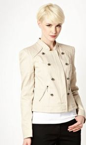 Beige Twill Military Jacket - pattern: plain; style: double breasted military jacket; collar: mandarin; predominant colour: ivory; occasions: casual; length: standard; fit: tailored/fitted; fibres: cotton - 100%; sleeve length: long sleeve; sleeve style: standard; texture group: cotton feel fabrics; collar break: high; pattern type: fabric
