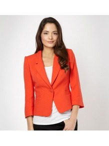 Designer Bright Orange Jacquard Jacket - pattern: plain; style: single breasted blazer; collar: standard lapel/rever collar; predominant colour: bright orange; occasions: work; length: standard; fit: tailored/fitted; fibres: cotton - mix; sleeve length: 3/4 length; sleeve style: standard; collar break: medium; pattern type: fabric; texture group: other - light to midweight