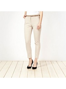Beige Belted Circle Jacquard Trousers - pattern: plain; waist: mid/regular rise; predominant colour: stone; occasions: casual, evening, work; length: ankle length; fibres: cotton - stretch; texture group: structured shiny - satin/tafetta/silk etc.; fit: slim leg; pattern type: fabric; style: standard