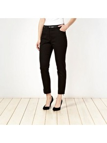 Black Belted Circle Jacquard Trousers - pattern: plain; waist detail: belted waist/tie at waist/drawstring; waist: mid/regular rise; predominant colour: black; occasions: evening, work; length: ankle length; fibres: cotton - stretch; fit: slim leg; pattern type: fabric; pattern size: standard; texture group: other - light to midweight; style: standard