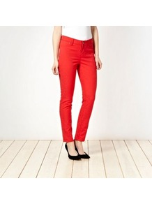 Red Animal Jacquard Skinny Jeans - style: skinny leg; length: standard; pocket detail: traditional 5 pocket; waist: mid/regular rise; predominant colour: true red; occasions: casual, evening; fibres: cotton - stretch; pattern type: fabric; pattern size: small & light; pattern: animal print; texture group: brocade/jacquard