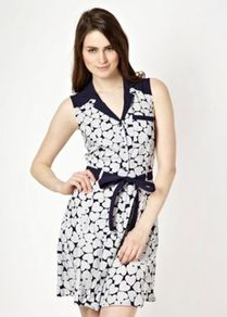 Designer Blue Heart Spot Dress - style: shirt; length: mid thigh; neckline: shirt collar/peter pan/zip with opening; sleeve style: sleeveless; shoulder detail: contrast pattern/fabric at shoulder; waist detail: belted waist/tie at waist/drawstring; predominant colour: ivory; secondary colour: navy; occasions: casual; fit: body skimming; fibres: polyester/polyamide - 100%; sleeve length: sleeveless; pattern type: fabric; pattern size: standard; pattern: patterned/print; texture group: jersey - stretchy/drapey