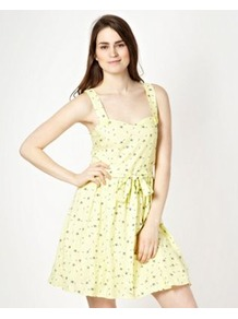Designer Yellow Bow Pinafore Dress - length: mid thigh; sleeve style: standard vest straps/shoulder straps; neckline: sweetheart; waist detail: belted waist/tie at waist/drawstring; predominant colour: primrose yellow; occasions: casual, holiday; fit: fitted at waist & bust; style: fit & flare; hip detail: soft pleats at hip/draping at hip/flared at hip; sleeve length: sleeveless; texture group: cotton feel fabrics; pattern type: fabric; pattern size: small & light; pattern: patterned/print; fibres: viscose/rayon - mix