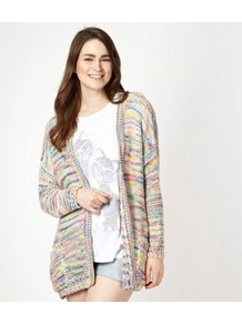 Designer Natural Florescent Edge To Edge Cardigan - length: below the bottom; neckline: collarless open; style: open front; occasions: casual; fibres: acrylic - 100%; fit: loose; predominant colour: multicoloured; sleeve length: long sleeve; sleeve style: standard; texture group: knits/crochet; pattern type: knitted - other; pattern size: small &amp; busy; pattern: patterned/print