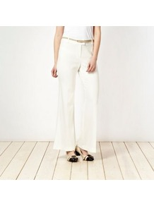 Ivory Belted Trousers - length: standard; pattern: plain; waist detail: belted waist/tie at waist/drawstring; waist: mid/regular rise; predominant colour: ivory; secondary colour: camel; occasions: evening, work, occasion, holiday; fibres: polyester/polyamide - stretch; texture group: crepes; fit: wide leg; pattern type: fabric; style: standard