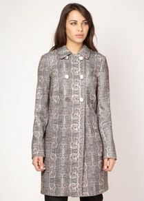Designer Beige Mock Snakeskin Coat - hip detail: side pockets at hip; style: double breasted; length: on the knee; predominant colour: mid grey; occasions: casual, work; fit: straight cut (boxy); fibres: polyester/polyamide - 100%; collar: shirt collar/peter pan/zip with opening; sleeve length: long sleeve; sleeve style: standard; texture group: structured shiny - satin/tafetta/silk etc.; collar break: high; pattern type: fabric; pattern size: standard; pattern: animal print