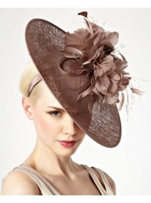 Pink Floral Feather Wreath Fascinator - predominant colour: taupe; occasions: evening, occasion; type of pattern: standard; style: fascinator; size: large; material: sinamay; pattern: plain; trends: sculptural frills; embellishment: corsage