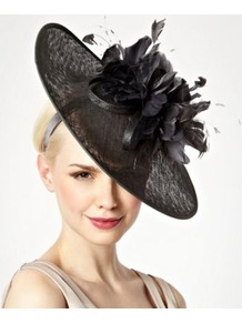 Light Grey Floral Feather Wreath Fascinator - predominant colour: charcoal; occasions: evening, occasion; type of pattern: standard; style: fascinator; size: large; material: sinamay; embellishment: feather; pattern: plain