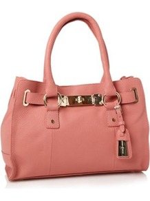 Designer Light Peach Grained Leather Mini Tote Bag - predominant colour: pink; occasions: casual, evening, work; type of pattern: standard; style: tote; length: handle; size: small; material: leather; pattern: plain; finish: plain