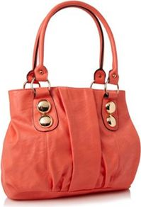 Coral Gemhill Faux Leather Shoulder Bag - predominant colour: coral; occasions: casual, work, holiday; type of pattern: standard; style: shoulder; length: shoulder (tucks under arm); size: standard; material: faux leather; embellishment: studs; pattern: plain; finish: plain
