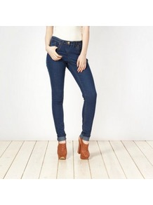 Blue Skinny Jeans - style: skinny leg; length: standard; pattern: plain; pocket detail: traditional 5 pocket; waist: mid/regular rise; predominant colour: navy; occasions: casual; fibres: cotton - stretch; jeans detail: dark wash; texture group: denim; pattern type: fabric