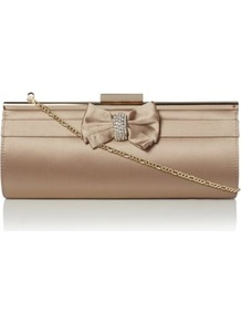 Taupe Satin Balli Satin Bow And Diamante Feature Clutch Bag - predominant colour: champagne; occasions: evening, occasion; type of pattern: standard; style: clutch; length: hand carry; size: small; material: satin; pattern: plain; finish: plain; embellishment: bow