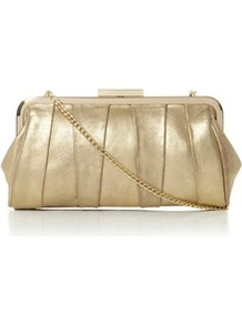 Champagne Suede Buffyina Pleated Detail Clutch Bag - predominant colour: champagne; occasions: evening, occasion; type of pattern: standard; style: clutch; length: hand carry; size: standard; material: suede; pattern: plain; trends: metallics; finish: metallic; embellishment: chain/metal