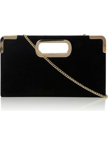 Black Suede Evies Suede Metal Trimmed Handle Box Clutch Bag - predominant colour: black; occasions: evening, occasion; style: clutch; length: handle; size: small; material: suede; pattern: plain; finish: plain; embellishment: chain/metal