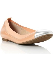 Apricot Leather Marilla Elasticated Toe Cap Leather Ballerina - predominant colour: nude; secondary colour: silver; occasions: casual, holiday; material: leather; heel height: flat; toe: round toe; style: ballerinas / pumps; finish: plain; pattern: colourblock; embellishment: toe cap
