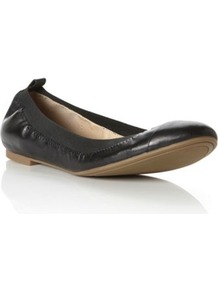 Black Leather Marilla Elasticated Toe Cap Leather Ballerina - predominant colour: black; occasions: casual, work; material: leather; heel height: flat; embellishment: elasticated; toe: round toe; style: ballerinas / pumps; finish: plain; pattern: plain
