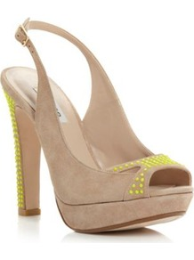 Taupe Suede Higher Neon Studded Slingback Heeled Sandal - predominant colour: nude; occasions: evening, occasion; material: suede; heel height: high; embellishment: studs; heel: platform; toe: open toe/peeptoe; style: slingbacks; trends: fluorescent; finish: plain; pattern: plain