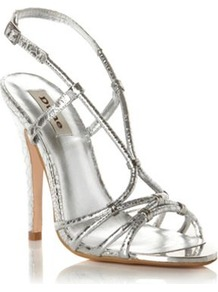 Silver Leather Heather Strappy Metallic Heeled Sandal - predominant colour: silver; secondary colour: silver; occasions: evening, occasion, holiday; material: leather; heel height: high; ankle detail: ankle strap; heel: stiletto; toe: open toe/peeptoe; style: strappy; trends: metallics; finish: metallic; pattern: plain