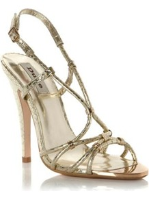 Gold Leather Heather Strappy Metallic Heeled Sandal - predominant colour: gold; occasions: evening, occasion, holiday; material: leather; heel height: high; ankle detail: ankle strap; heel: stiletto; toe: open toe/peeptoe; style: strappy; trends: metallics; finish: metallic; pattern: plain