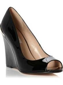 Black Patent Covert Metal Trim Wedged Heel Peep Toe Court Shoe - predominant colour: black; occasions: casual, evening, work, occasion; material: leather; heel height: high; heel: wedge; toe: open toe/peeptoe; style: courts; finish: patent; pattern: plain