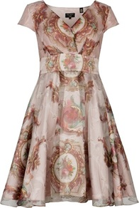 Ted Baker Punitee Baroque Print Dress - neckline: v-neck; waist detail: wide waistband/cummerbund; bust detail: ruching/gathering/draping/layers/pintuck pleats at bust; predominant colour: blush; occasions: evening, occasion; length: just above the knee; fit: fitted at waist & bust; style: fit & flare; fibres: silk - 100%; hip detail: soft pleats at hip/draping at hip/flared at hip; sleeve length: short sleeve; sleeve style: standard; texture group: structured shiny - satin/tafetta/silk etc.; trends: statement prints, volume; pattern type: fabric; pattern size: big & busy; pattern: patterned/print