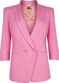 Ted Baker Meeda Double Breasted Blazer - pattern: plain; style: double breasted blazer; collar: shawl/waterfall; length: below the bottom; occasions: casual, evening, occasion; fit: tailored/fitted; fibres: viscose/rayon - stretch; back detail: back vent/flap at back; sleeve length: 3/4 length; sleeve style: standard; collar break: low/open; pattern type: fabric; texture group: woven light midweight; predominant colour: dusky pink