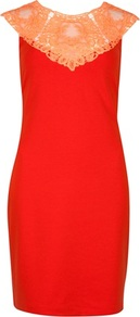 Ted Baker Violina Lace Trim Jersey Dress - style: shift; pattern: plain; sleeve style: sleeveless; waist detail: fitted waist; shoulder detail: contrast pattern/fabric at shoulder; back detail: contrast pattern/fabric at back; predominant colour: bright orange; occasions: evening, occasion; length: just above the knee; fit: body skimming; fibres: polyester/polyamide - mix; neckline: crew; bust detail: contrast pattern/fabric/detail at bust; sleeve length: sleeveless; texture group: lace; trends: glamorous day shifts, fluorescent; pattern type: fabric; pattern size: standard