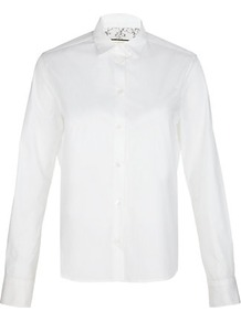 Lace Cuff Shirt - neckline: shirt collar/peter pan/zip with opening; pattern: plain; style: shirt; predominant colour: white; occasions: casual, work; length: standard; fibres: cotton - 100%; fit: tailored/fitted; sleeve length: long sleeve; sleeve style: standard; pattern type: fabric; pattern size: standard; texture group: jersey - stretchy/drapey