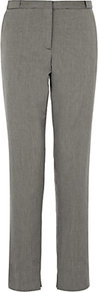 Cotton Blend Piqué Trousers - length: standard; pattern: plain; pocket detail: pockets at the sides; waist: mid/regular rise; predominant colour: mid grey; occasions: casual, evening, work; fibres: cotton - mix; hip detail: fitted at hip (bottoms); waist detail: narrow waistband; texture group: cotton feel fabrics; fit: straight leg; pattern type: fabric; style: standard