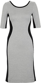 Summer Piqué Dress - neckline: round neck; fit: tight; style: bodycon; waist detail: fitted waist; predominant colour: light grey; occasions: evening, work; length: on the knee; fibres: cotton - 100%; sleeve length: short sleeve; sleeve style: standard; trends: glamorous day shifts; pattern type: fabric; pattern size: standard; pattern: colourblock; texture group: jersey - stretchy/drapey