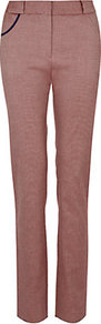 High Waist Trousers - length: standard; pattern: plain; pocket detail: large back pockets; waist: mid/regular rise; occasions: casual, evening, work; fibres: cotton - stretch; hip detail: added detail/embellishment at hip; waist detail: narrow waistband; fit: straight leg; pattern type: fabric; pattern size: standard; texture group: jersey - stretchy/drapey; style: standard; predominant colour: dusky pink