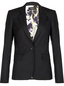 Hazy Pansies Jacket - pattern: plain; style: single breasted blazer; collar: standard lapel/rever collar; predominant colour: black; occasions: evening, work, occasion; length: standard; fit: tailored/fitted; fibres: wool - mix; waist detail: fitted waist; back detail: back vent/flap at back; sleeve length: long sleeve; sleeve style: standard; texture group: structured shiny - satin/tafetta/silk etc.; collar break: medium; pattern type: fabric; pattern size: standard