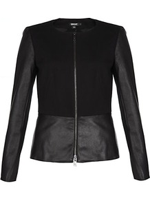 Leather Trim Jacket - pattern: plain; style: biker; collar: round collar/collarless; predominant colour: black; occasions: casual, evening, work, occasion; length: standard; fit: tailored/fitted; fibres: cotton - mix; waist detail: peplum detail at waist; sleeve length: long sleeve; sleeve style: standard; texture group: leather; collar break: high; pattern type: fabric; pattern size: standard
