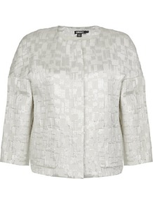 Metallic Jacquard Jacket - pattern: plain; collar: round collar/collarless; length: cropped; style: boxy; predominant colour: silver; occasions: evening, work, occasion; fit: straight cut (boxy); fibres: cotton - mix; sleeve length: 3/4 length; sleeve style: standard; texture group: structured shiny - satin/tafetta/silk etc.; trends: metallics; collar break: high; pattern type: fabric; pattern size: standard