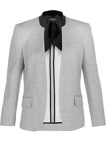 Piqué Buttonless Jacket - pattern: plain; style: single breasted blazer; collar: standard lapel/rever collar; predominant colour: light grey; occasions: evening, work; length: standard; fit: tailored/fitted; fibres: polyester/polyamide - 100%; waist detail: fitted waist; sleeve length: long sleeve; sleeve style: standard; texture group: cotton feel fabrics; collar break: low/open; pattern type: fabric; pattern size: small & light