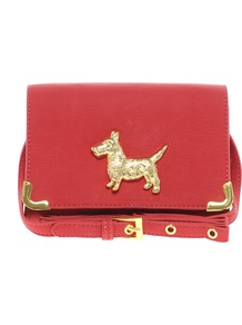 Across Body Bag With Scotty Dog Fitting - predominant colour: true red; secondary colour: gold; occasions: casual, evening, work; type of pattern: standard; style: messenger; length: across body/long; size: mini; material: faux leather; pattern: plain; finish: plain; embellishment: chain/metal