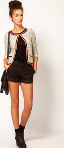 Quilted Short - pattern: plain; style: shorts; length: short shorts; waist: mid/regular rise; predominant colour: black; occasions: casual, evening; fibres: viscose/rayon - 100%; texture group: leather; fit: slim leg; pattern type: fabric; embellishment: quilted