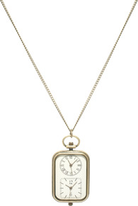 Double Watch Pendant Necklace - secondary colour: ivory; predominant colour: gold; occasions: casual; style: pendant; length: mid; size: standard; material: chain/metal; finish: plain; embellishment: chain/metal