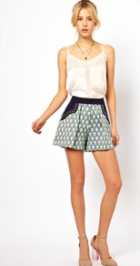 Shorts In Print With Studded Pocket Detail - style: shorts; waist: high rise; pocket detail: pockets at the sides; length: short shorts; secondary colour: navy; predominant colour: sage; occasions: casual, evening, holiday; fibres: cotton - mix; waist detail: narrow waistband; texture group: cotton feel fabrics; fit: straight leg; pattern type: fabric; pattern size: small & busy; pattern: patterned/print; embellishment: studs