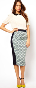 Pencil Skirt In Print With Contrast Panels - length: calf length; style: pencil; fit: tailored/fitted; waist: high rise; secondary colour: white; predominant colour: navy; occasions: evening, occasion; fibres: cotton - mix; pattern type: fabric; pattern size: small &amp; busy; pattern: florals; texture group: woven light midweight
