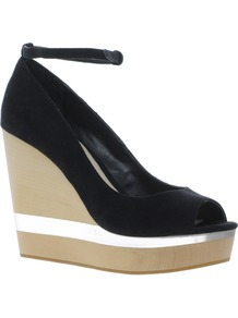 Pioneer Wedges - secondary colour: silver; predominant colour: black; occasions: casual, evening, occasion, holiday; material: fabric; ankle detail: ankle strap; heel: wedge; toe: open toe/peeptoe; style: courts; finish: plain; pattern: colourblock; heel height: very high